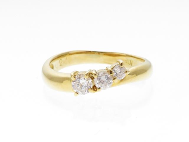 JEWELRY ジュエリー 貴金属・宝石 リング 指輪 K18 ダイヤモンド0.27 2.2g 8号【430】【中古】【大黒屋】