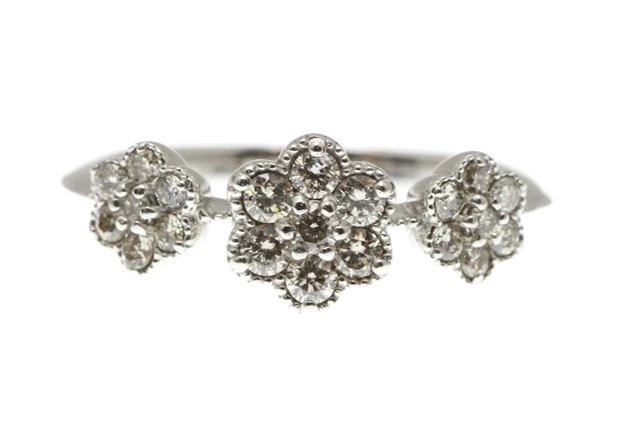 ノンブランドジュエリー リング 指輪 ホワイトゴールド ダイヤモンド 12号 約3.4g 【472】【中古】【大黒屋】