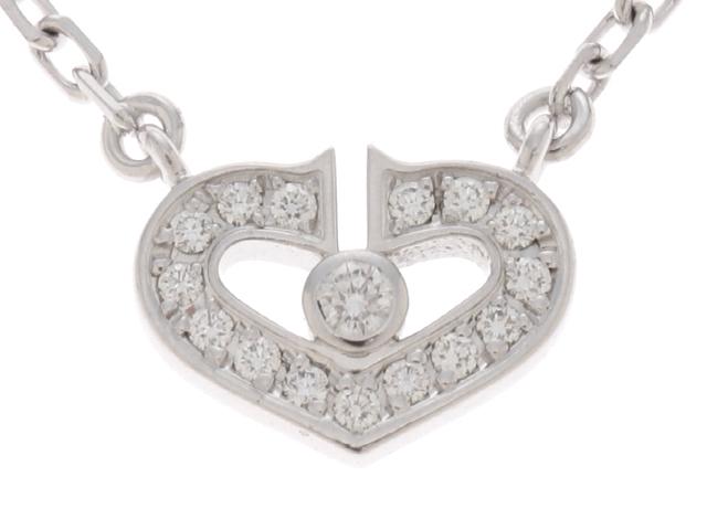 【送料無料】Cartier カルティエ Cハートダイヤネックレス WG(ホワイトゴールド)1PD(ダイヤモンド)【472】【中古】【大黒屋】