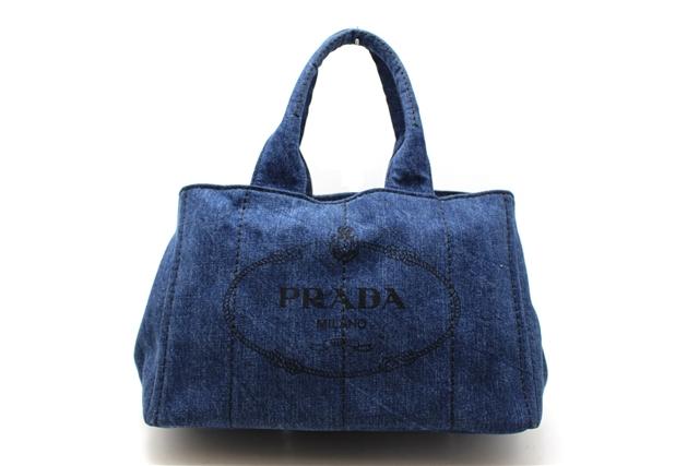 【送料別】PRADA プラダ デニム カナパ B1877B ブルー 【472】【中古】【大黒屋】