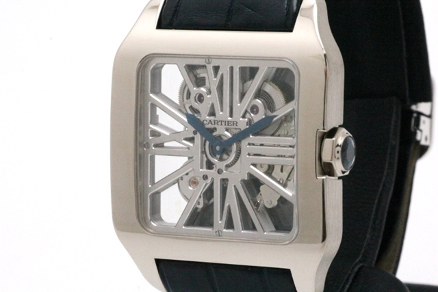 Cartier カルティエ サントス デュモン 手巻き W2020033 スケルトン WG/革 HK【432】【中古】【大黒屋】