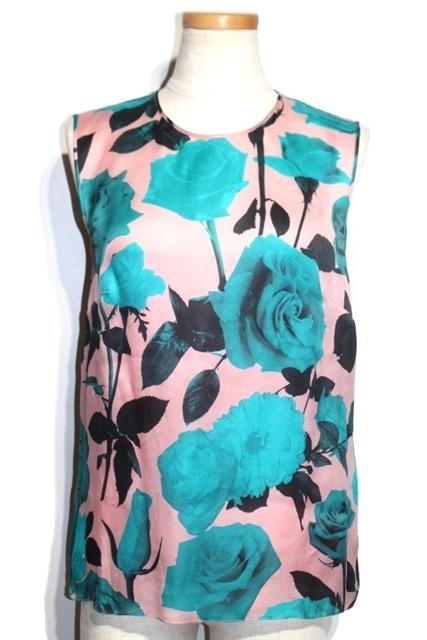 Dior  ディオール カットソー シルク ピンク アオ バラ 38 【432】【中古】【大黒屋】
