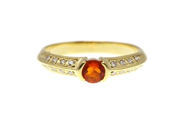 JEWELRY ノンブランドジュエリー リング 指輪 ゴールド ガーネット ダイヤモンド 10号 約2.5g  SJ【472】【中古】【大黒屋】