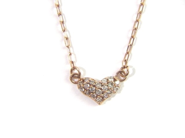 JEWELRY ノンブランド K10PG ネックレス ピンクゴールド ダイヤモンド ハート 1.1g【413】【中古】【大黒屋】