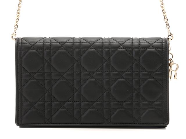 【送料無料】Dior ディオール ショルダーバッグ チェーンウォレット ラムスキン ブラック【472】【中古】【大黒屋】