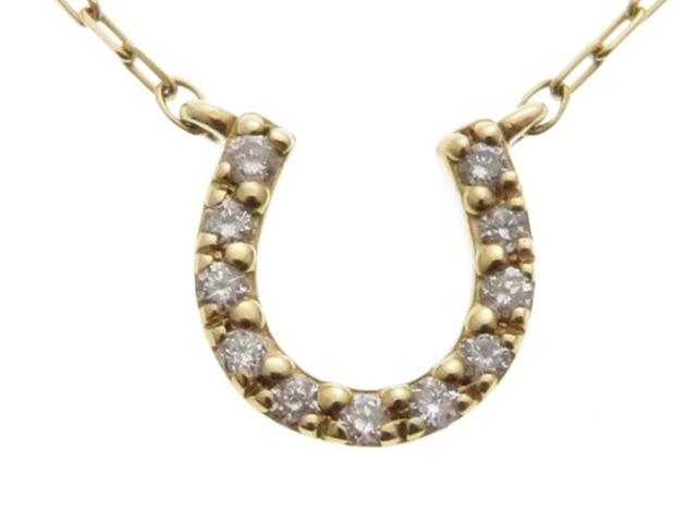4℃ ヨンドシー K10 イエローゴールド ダイヤモンド 馬蹄 ネックレス 【430】【中古】【大黒屋】