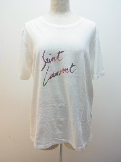 SAINT LAULENT サンローラン Tシャツ コットン シロ マルチカラー S 【432】【中古】【大黒屋】
