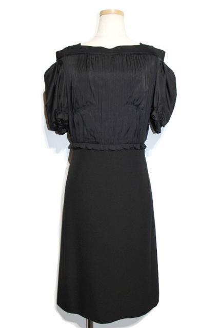 LOUIS VUITTON ルイヴィトン ワンピース ドレス オフショルダー レディース36 ブラック シルク【432】【中古】【大黒屋】