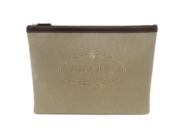 PRADA プラダ バッグ クラッチバッグ セカンドバッグ キャンバス カーフ 2N1283 【437】【中古】【大黒屋】