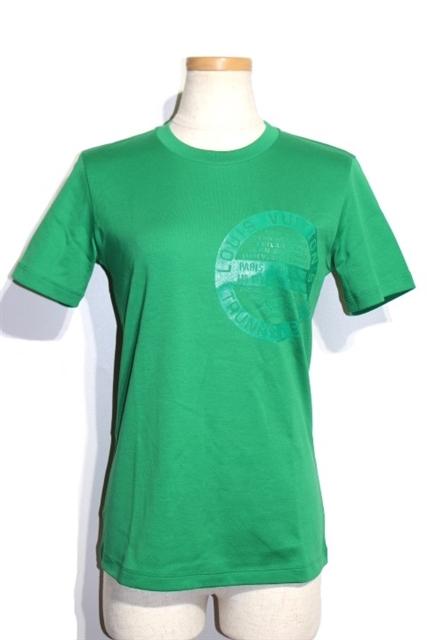 LOUIS VUITTON ルイヴィトン LV Tシャツ レディース XS グリーン コットン RW192W【432】【中古】【大黒屋】