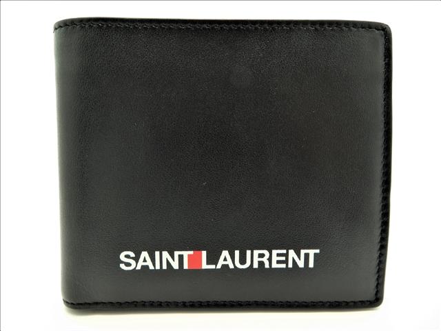 【送料別】YVES SAINT LAURENT サイフ・小物 財布 二つ折り財布 カーフ ブラック【472】【中古】【大黒屋】