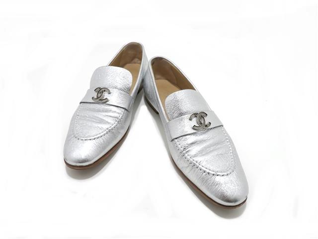 CHANEL シャネル 革靴 39ハーフ シルバー レザー 【437】【中古】【大黒屋】