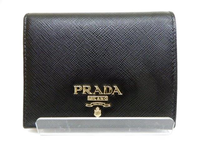PRADA サイフ・小物 二つ折財布 財布 1MV204 サフィアーノ ブラック/ピンク【431】【中古】【大黒屋】