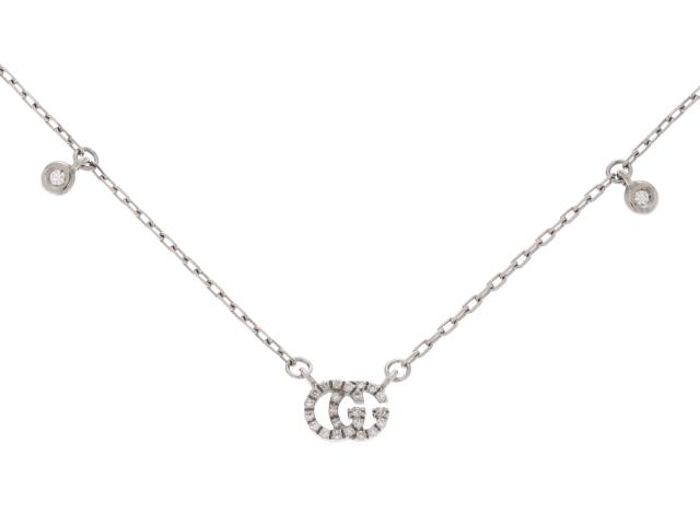 【送料無料】GUCCI グッチ ダブルG ホワイトゴールド ダイヤモンド ネックレス WG D0.09 3.0g 内箱付き【430】【中古】【大黒屋】