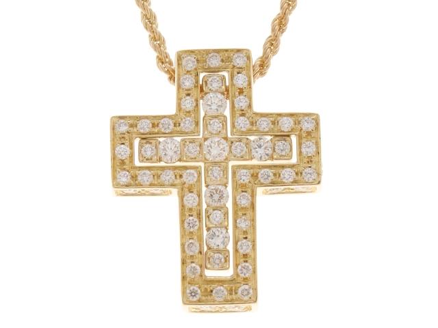 【送料無料】DAMIANI ダミアーニ ベルエポック クロス ネックレス YG D イエローゴールド ダイヤモンド 8.7g 【432】【】【大黒屋】