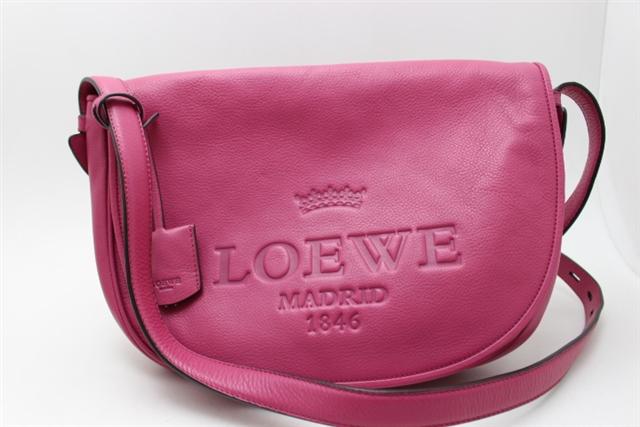 LOEWE ロエベ バッグ ショルダーバッグ ロゴ カーフ ピンク 【432】【中古】【大黒屋】