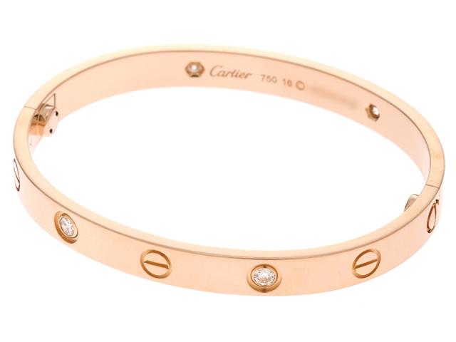 【送料無料】Cartier カルティエ ラブ ハーフ ダイヤモンド ピンクゴールド ブレスレット PG D 29.6g 16号 箱・ギャラ付き【430】【中古】【大黒屋】