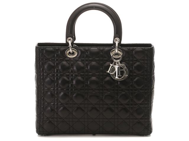 [送料無料]Dior クリスチャンディオール バッグ レディーディオール カナージュトート ラムスキン ブラック【472】【中古】【大黒屋】