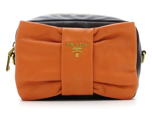 PRADA プラダ バッグ 2wayショルダー ショルダーバッグ カーフ ダークブラウン/オレンジ【437】【中古】【大黒屋】