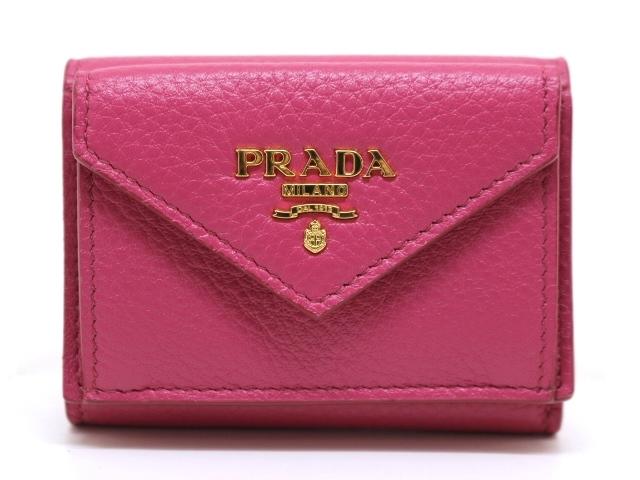 PRADA プラダ 三つ折財布 財布 コンパクト三つ折財布 型押し ピンク 1MH021【437】【中古】【大黒屋】