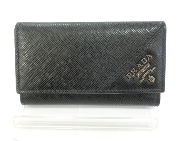 PRADA サイフ 小物 6連キーケース サフィアーノ ブラック【430】【中古】【大黒屋】