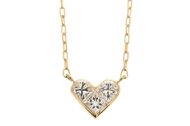 JEWELRY ノンブランド ネックレス ハート K18ピンクゴールド ダイヤモンド0.16ct SJ【472】【中古】【大黒屋】