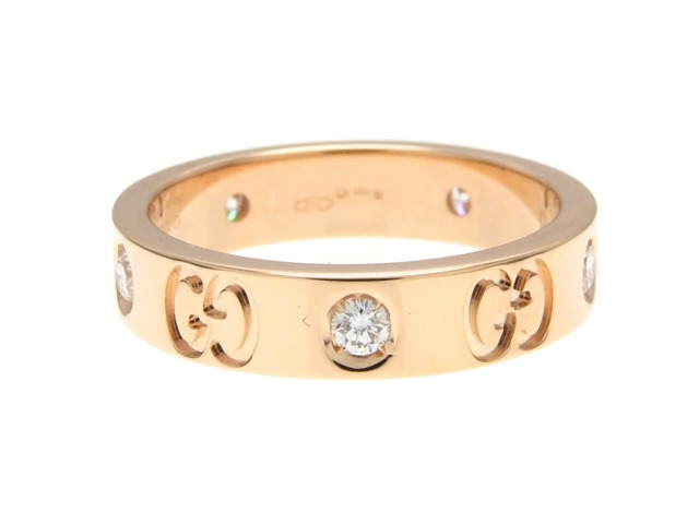 GUCCI グッチ アイコンリング 指輪 K18PG ピンクゴールド 5PD ダイヤモンド 8号 【474】【中古】【大黒屋】
