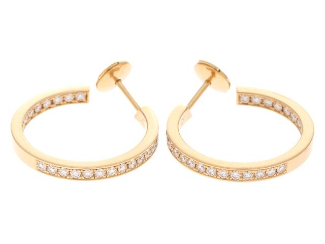 【送料無料】Cartier カルティエ YG ダイヤモンド クラシックフープピアス SMサイズ 【472】【中古】【大黒屋】