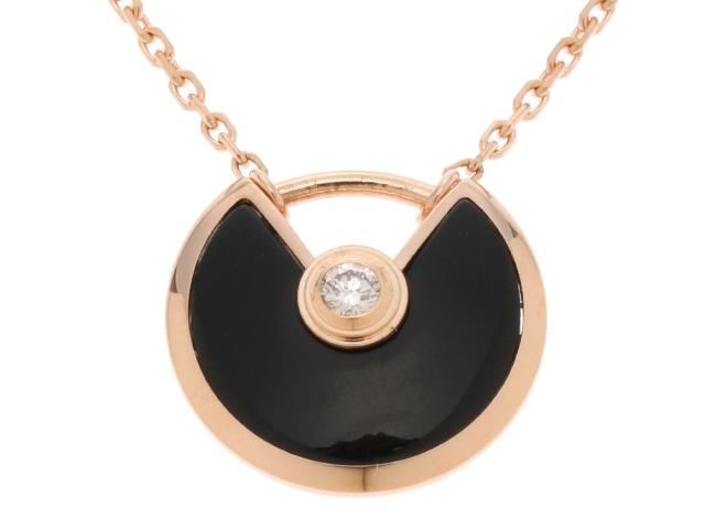 【送料無料】Cartier カルティエ アミュレット ネックレス XS オニキス PG ダイヤモンド B3047200 【460】【中古】【大黒屋】