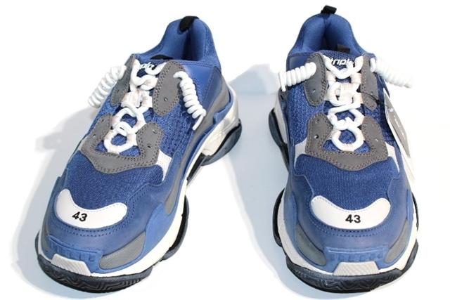 【送料無料】BALENCIAGA バレンシアガ トリプルSトレーナー スニーカー メンズ43 ブルー ファブリック  【432】【中古】【大黒屋】