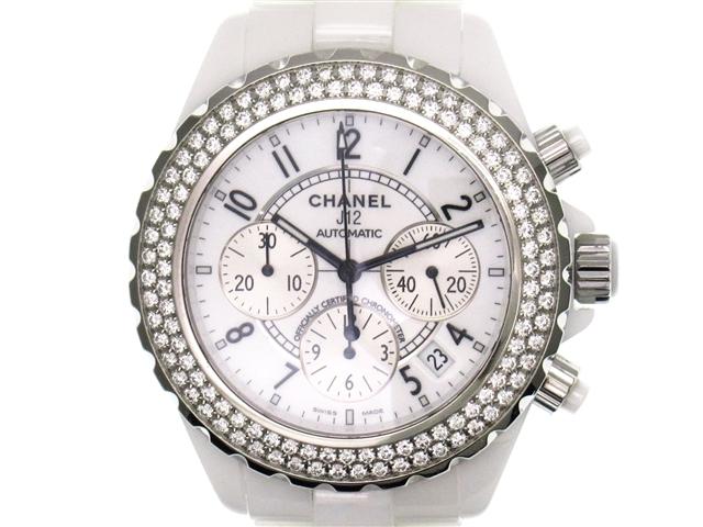 【送料無料】CHANEL シャネル 時計 J12・クロノ H1008 ダイヤベゼル CE ホワイト オートマチック 200m防水 メンズ【430】【中古】【大黒屋】