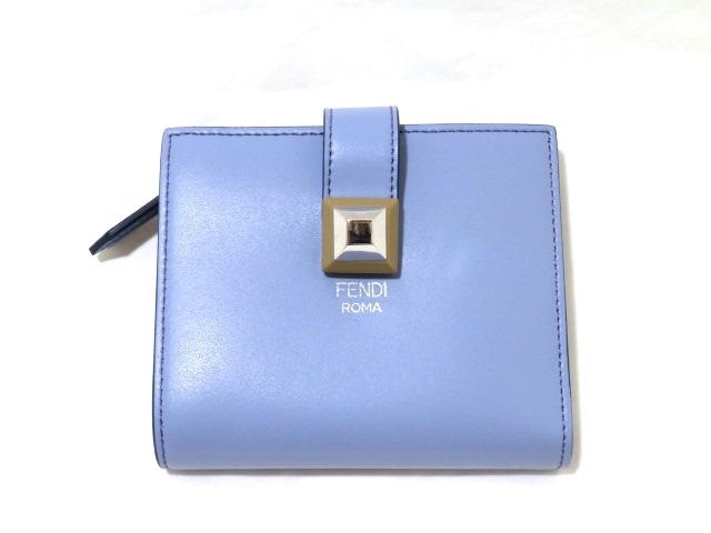 FENDI 財布 二つ折り コンパクトウォレット カーフ パープル系 【472】【中古】【大黒屋】