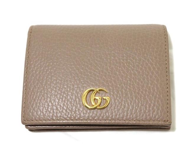 GUCCI グッチ 財布 二つ折財布 型押し ベージュ 456126   【472】【中古】【大黒屋】