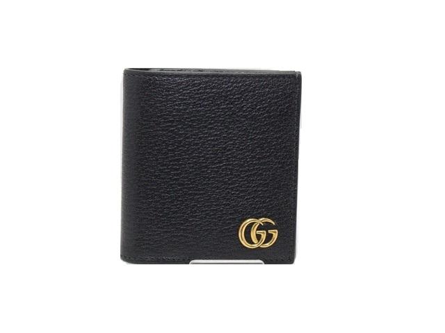 GUCCI グッチ 二つ折財布 GGマーモント 型押し クロ【474】【中古】【大黒屋】