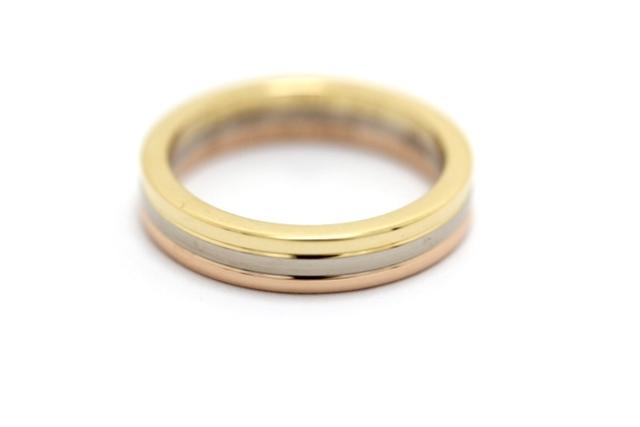 【送料無料】Cartier カルティエ トリニティバンドリング  指輪 3カラー 46号 日本サイズ6号 【436】【中古】【大黒屋】