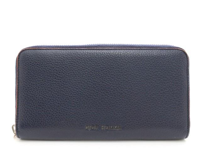 Dior Homme ディオールオム ラウンドファスナー長財布 型押し ネイビー オレンジ カモフラージュ 迷彩 【474】【中古】【大黒屋】