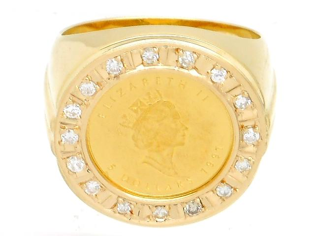 【送料無料】JEWELRY 貴金属・宝石 リング 指輪 イエローゴールド K18 K24 コイン メープルリーフ ダイヤ D 0.32ct 21.9g 27号 メンズリング エリザベス 【200】【中古】【大黒屋】