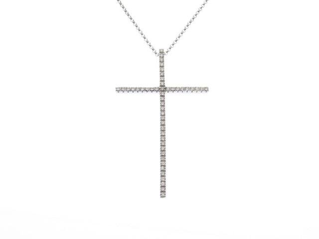 【送料無料】JEWELRY ノンブランドジュエリー K18WG ダイヤモンド クロス ネックレス 【430】【中古】【大黒屋】