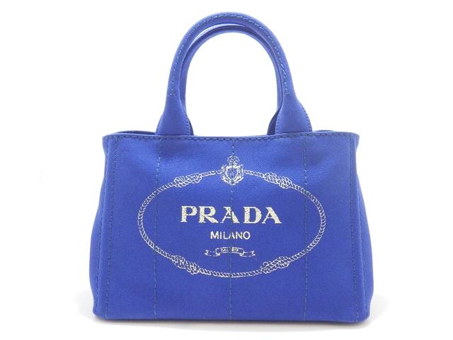 【送料無料】PRADA プラダ バッグ カナパ ハンドバッグ ミニカナパ キャンバス ブルー【460】【中古】【大黒屋】