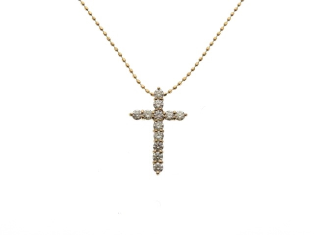 JEWELRY ノンブランドジュエリー K18PG ダイヤモンド クロス ネックレス 【435】【中古】【大黒屋】
