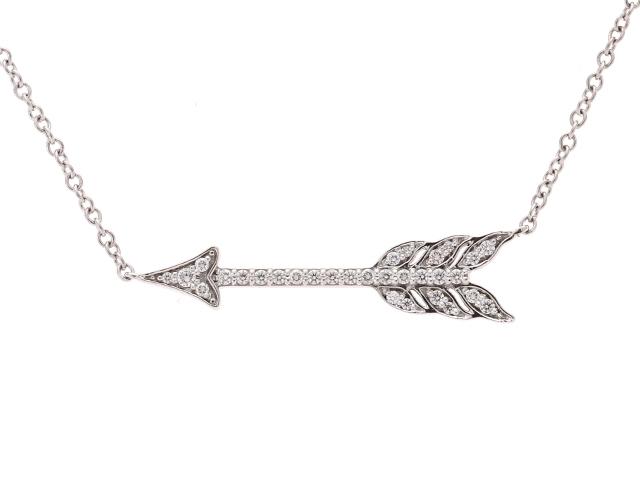 【送料無料】TIFFANY&CO ティファニー アローネックレス ネックレス ダイヤモンド PT D 3.2g【434】【中古】【大黒屋】