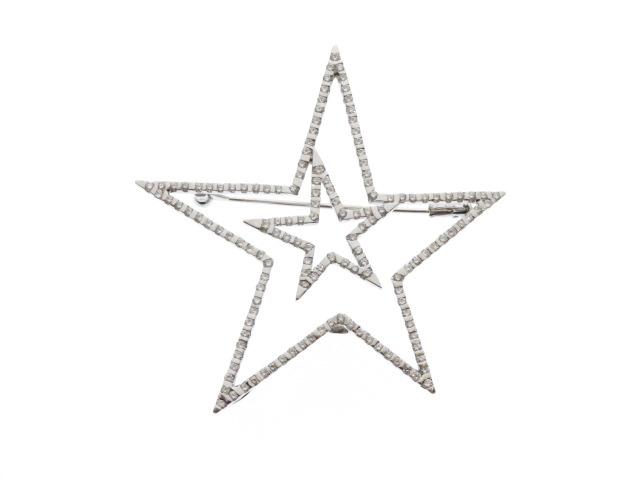 【送料無料】JEWELRY ノンブランドジュエリー K18WG ダイヤモンド スター ブローチ 【472】【中古】【大黒屋】