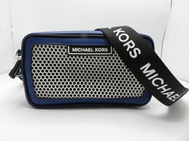MICHAEL KORS マイケルコース バッグ  ショルダーバッグ カーフ/メッシュ ブルー/シロ/ネイビー 【432】【中古】【大黒屋】