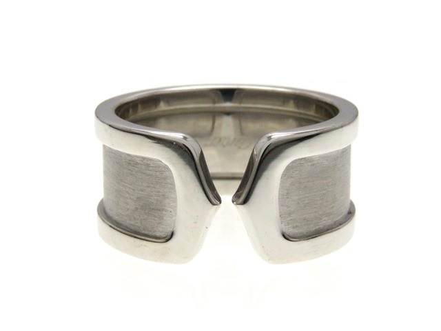 【送料無料】Cartier C2 リング 指輪 K18WG ホワイトゴールド 53号 【474】【中古】【大黒屋】