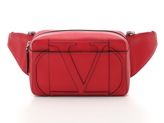 【送料無料】VALENTINO ヴァレンチノ バッグ Vロゴボディバッグ カーフ レッド【430】【中古】【大黒屋】