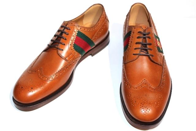 GUCCI グッチ 革靴 ウィングチップ 407300 メンズ7ハーフ 約26cm ブラウン レザー ビー【200】【中古】【大黒屋】