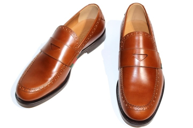 GUCCI グッチ 革靴 シェリーラインローファーレザーシューズ ローファー 450990 メンズ6 約24.5cm ブラウン レザー ビー【200】【中古】【大黒屋】