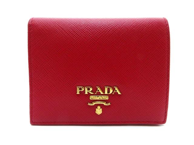 PRADA プラダ 財布 二つ折り財布 サフィアーノ 赤 1MV204 【437】【中古】【大黒屋】