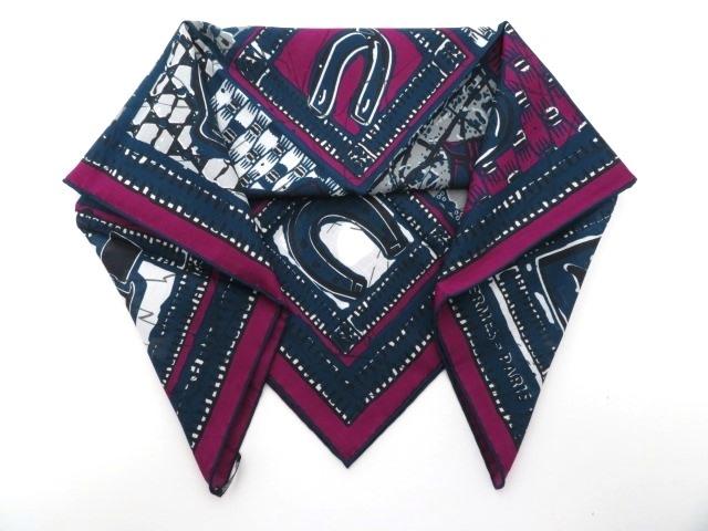 HERMES  エルメス 衣料品  スカーフ  カレ65  ネイビー パープル 【430】【中古】【大黒屋】