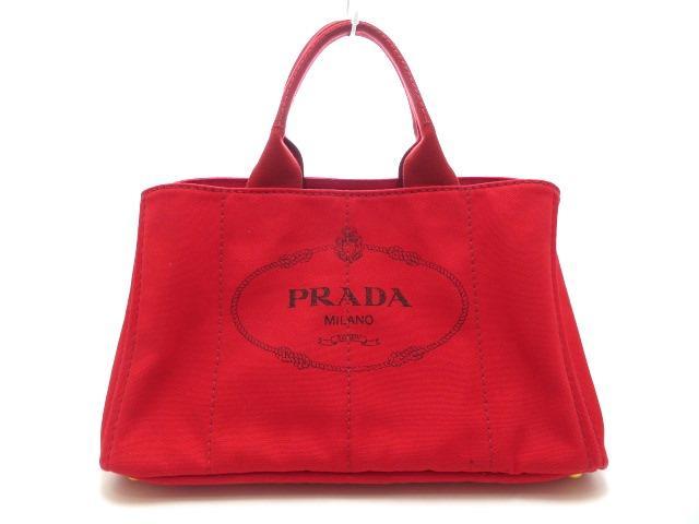 PRADA ハンドバッグ カナパ キャンバス レッド BN1872【205】【中古】【大黒屋】